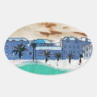 海Supetarの都市 楕円形シール
