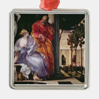 浸るBathsheba c.1575 (キャンバスの油) メタルオーナメント