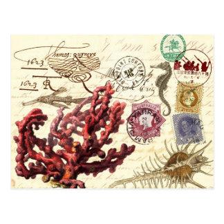 消印およびスタンプが付いている海洋生物のコラージュ ポストカード