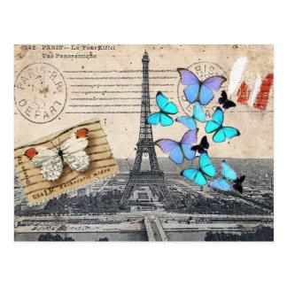 消印は蝶パリEffielタワーの台本を書きます ポストカード