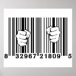 消費者運動UPCのバーコードの刑務所によって捕獲される ポスター