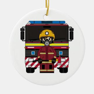 消防士のウィットの消防車のオーナメント セラミックオーナメント