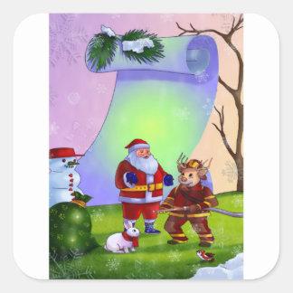 消防士のギフトのためのクリスマスの新年のステッカー スクエアシール