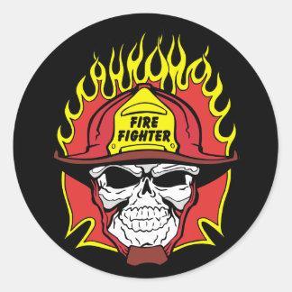 消防士のスカル ラウンドシール