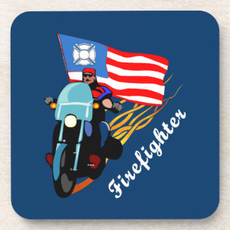 消防士のバイクもしくは自転車に乗る人 コースター