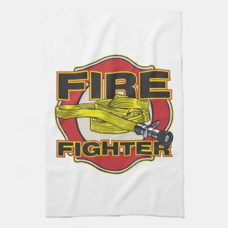 消防士のホースおよび盾 キッチンタオル