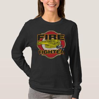 消防士のホースおよび盾 Tシャツ
