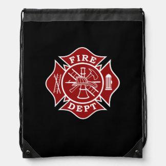 消防士のマルタ十字のドローストリングのバックパック ナップサック