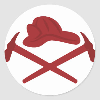 消防士のロゴ 丸形シール・ステッカー