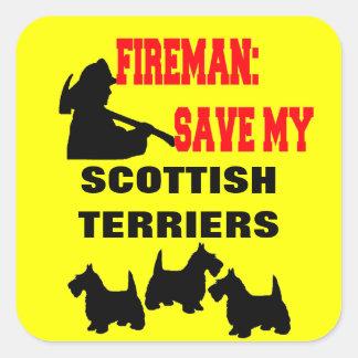 消防士の保存私の3匹のスコットランドテリア犬 スクエアシール