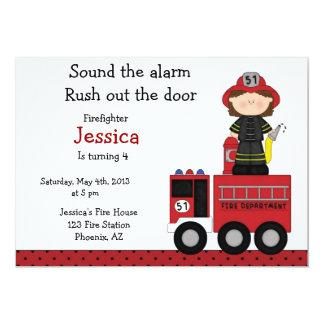 消防士の女の子の誕生日の招待状 12.7 X 17.8 インビテーションカード