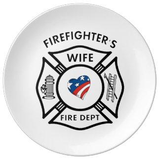 消防士の妻米国 磁器プレート