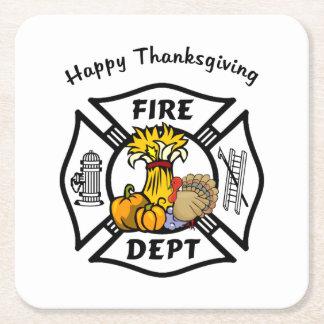 消防士の感謝祭 スクエアペーパーコースター