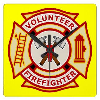 消防士の救急医療隊員の柱時計 スクエア壁時計