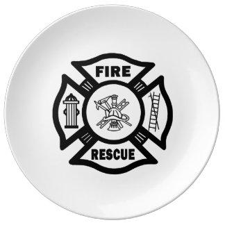 消防士の火の救助 磁器プレート