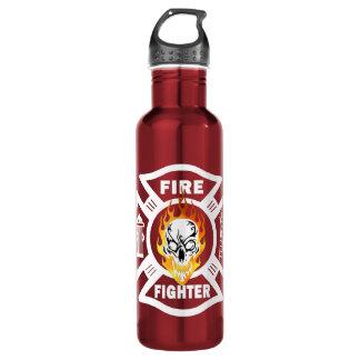 消防士の燃えるようなスカル ウォーターボトル