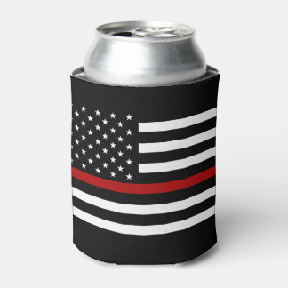 消防士の薄い赤線ボトルのクーラー 缶クーラー