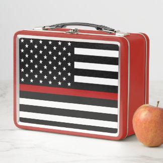 消防士の薄い赤線金属のお弁当箱 メタルランチボックス