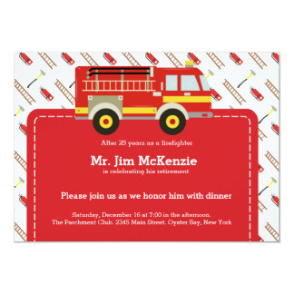 消防士の退職 12.7 X 17.8 インビテーションカード
