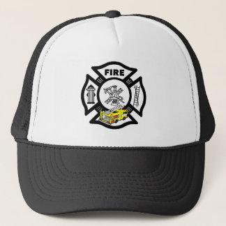 消防士の黄色い普通消防車の救助 キャップ