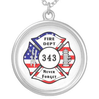 消防士9/11は決して343を忘れません シルバープレートネックレス