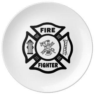 消防士 磁器プレート