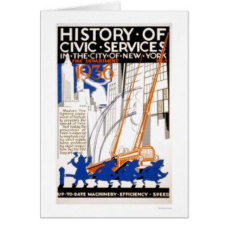 消防署のトラックNYC 1936 WPA カード