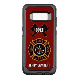 消防署の消防士のバッジの名前のテンプレート オッターボックスコミューターSamsung GALAXY S8 ケース