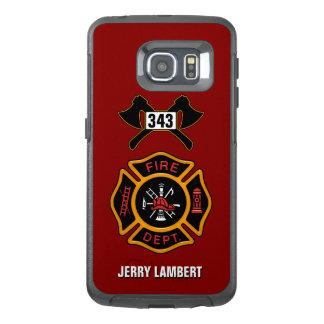 消防署の消防士の名前のテンプレート オッターボックスSamsung GALAXY S6 EDGEケース