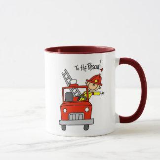 消防車のマグを持つ棒の姿の消防士 マグカップ