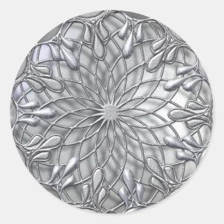 涙によって宝石で飾られる銀製のステッカー ラウンドシール