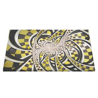 液体のタクシー、黄色いチェック模様のレトロのフラクタル キャンバスプリント
