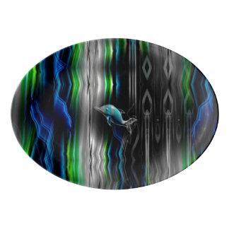 液体の振動イルカのネオン 磁器大皿