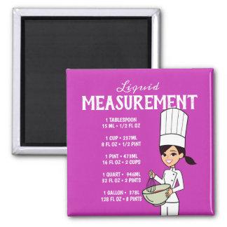 液体測定の図表を持つ漫画のシェフ マグネット