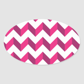 涼しいシェブロンのジグザグ形のピンク 楕円形シール