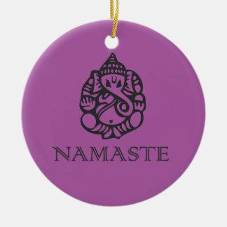 涼しいナマステのGaneshのデザインの紫色 セラミックオーナメント