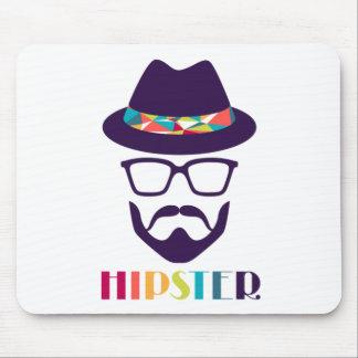 涼しいヒップスターのカラフルな帽子ガラス マウスパッド