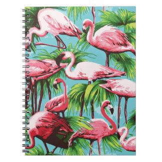 涼しいレトロのピンクのフラミンゴのノート ノートブック
