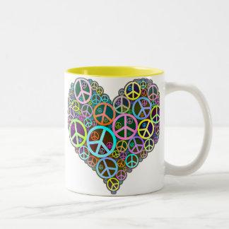 涼しい平和愛ハート ツートーンマグカップ