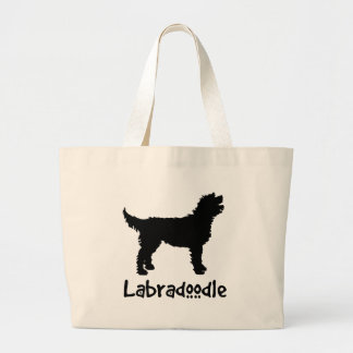 涼しい文字とのLabradoodle ラージトートバッグ