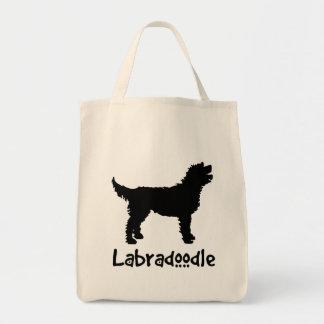 涼しい文字とのLabradoodle (黒で) トートバッグ