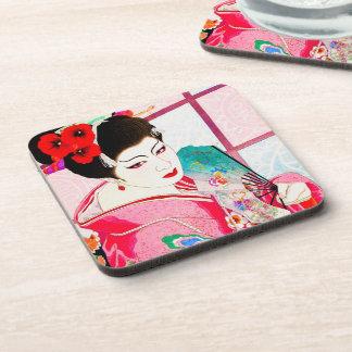 涼しい日本のGeisha美しいの女性ピンクファンの芸術 コースター