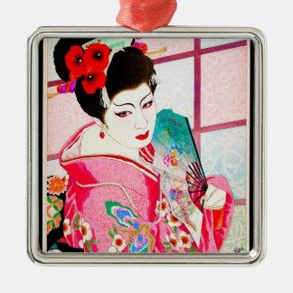 涼しい日本のGeisha美しいの女性ピンクファンの芸術 シルバーカラー正方形オーナメント