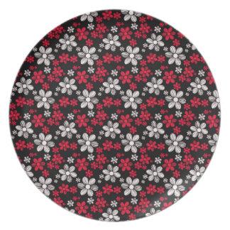 涼しい東洋のガーリーなデイジーの花の花柄パターン プレート