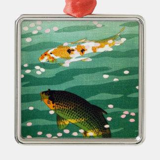 涼しい東洋の幸運なコイはエメラルド水芸術を採取します メタルオーナメント