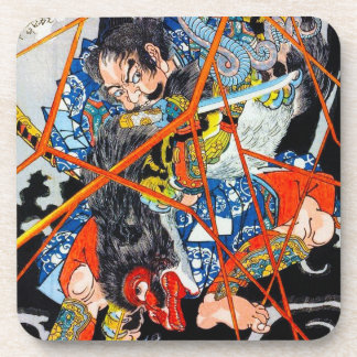 涼しい東洋の日本のな伝説の英雄の戦士の芸術 コースター