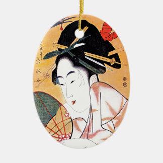 涼しい東洋の日本のな芸者のポートレート セラミックオーナメント