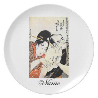 涼しい東洋の日本のな芸者の入れ墨の芸術 プレート