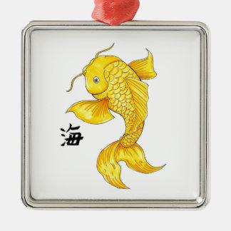 涼しい東洋の日本のな金ゴールドのコイの魚のコイの入れ墨 メタルオーナメント