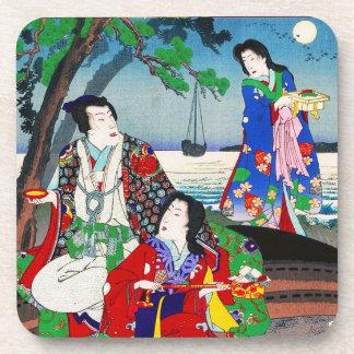 涼しい東洋の日本のクラシックな芸者の女性芸術 コースター